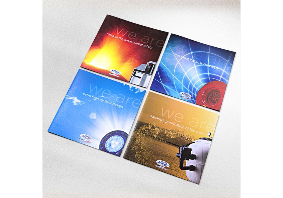 Aqua copertine folder quadrati