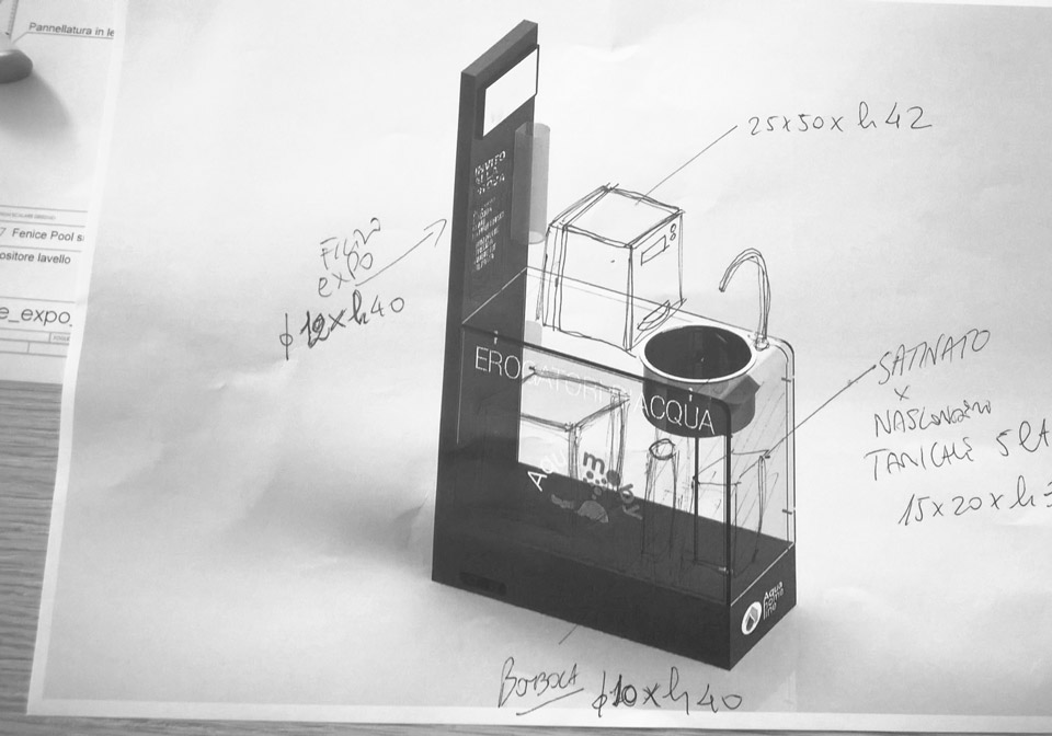 I primi disegni tecnici e calcoli per l'espositore Aqua Moby